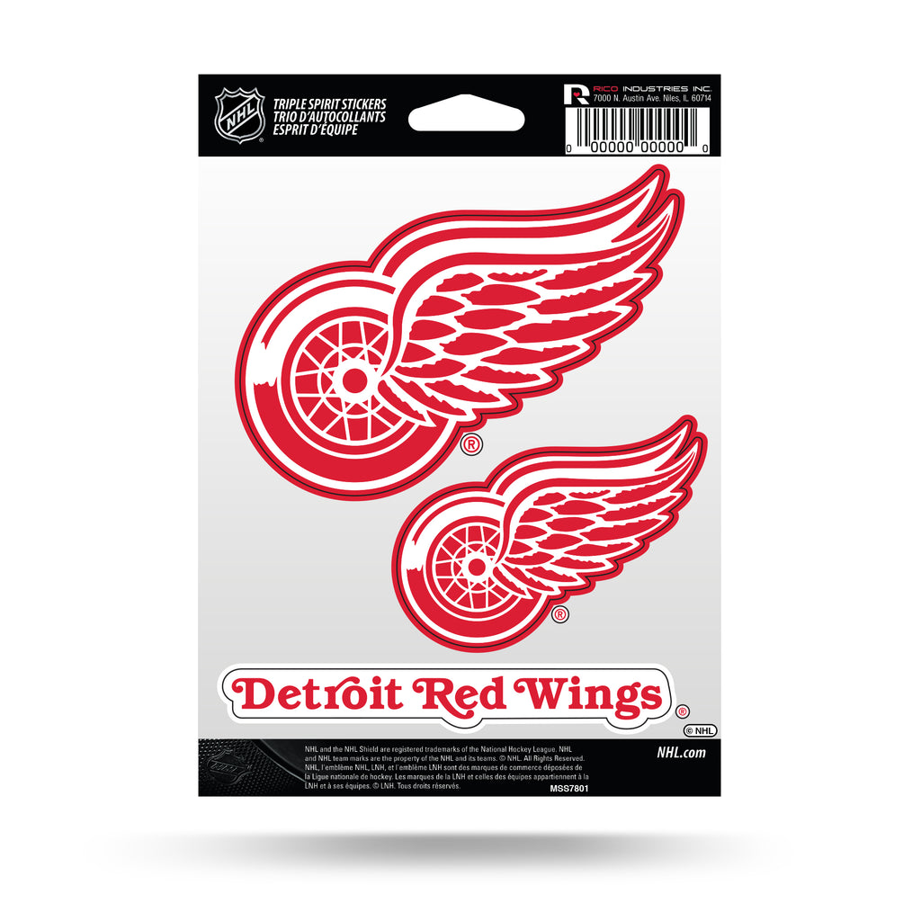 Rico NHL Detroit Red Wings Triple Spirit Stickers 3 Pack Team Decals