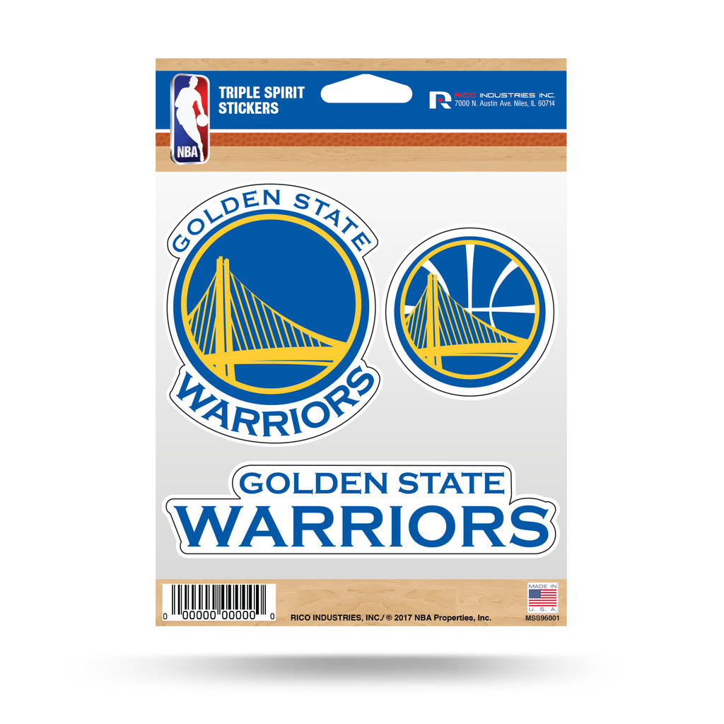 Rico NBA Golden State Warriors Triple Spirit Stickers 3 Pack Team Decals