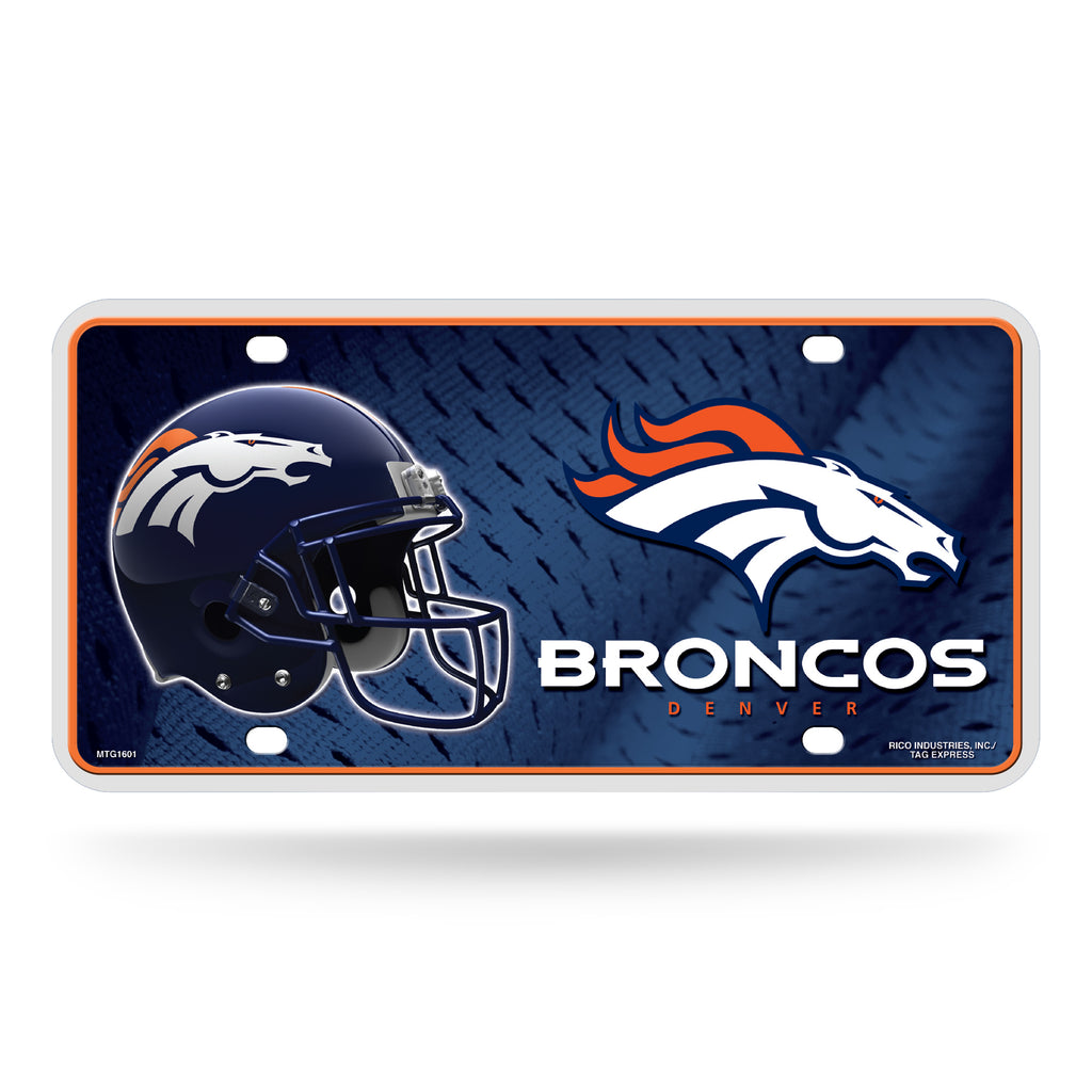 Rico NFL Denver Broncos Auto Metal Tag Car License Plate MTG