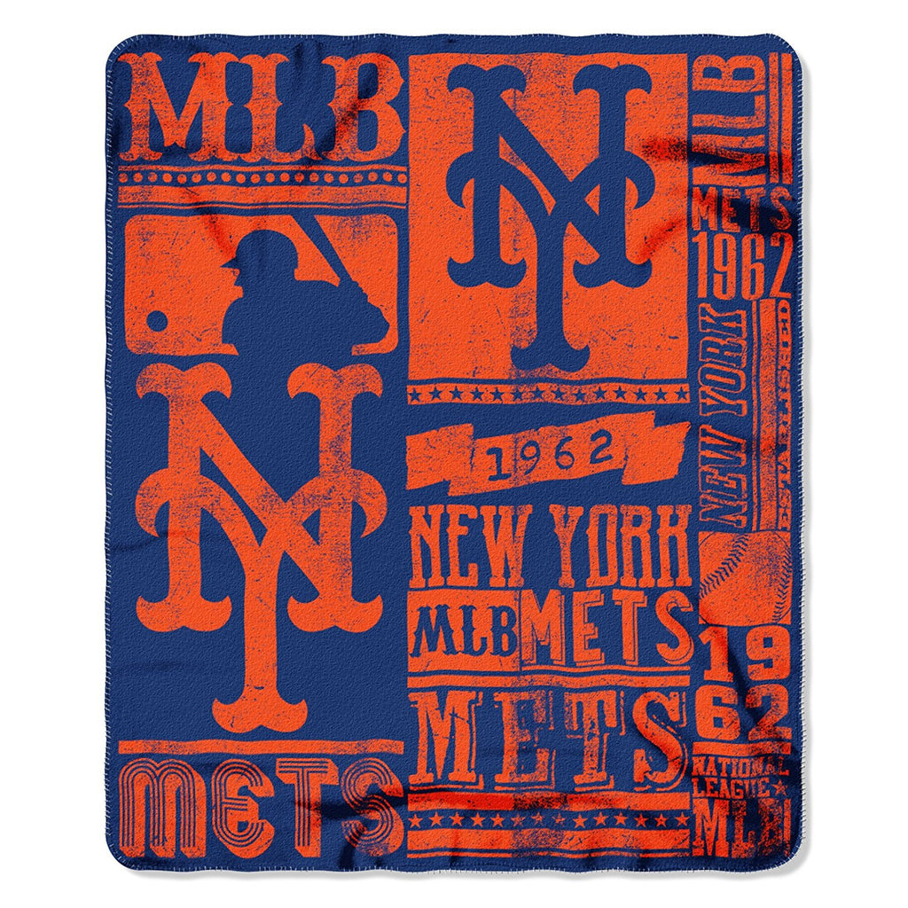 The Northwest Company MLB New York Mets Marque Printed Fleece Throw Orange/Blue