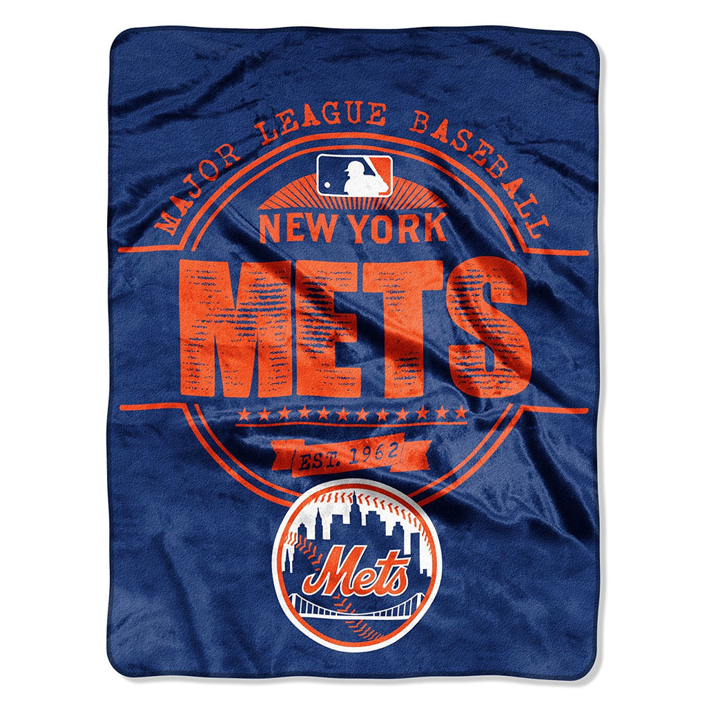 The Northwest Company MLB New York Mets Structure Micro-Raschel Throw Blue