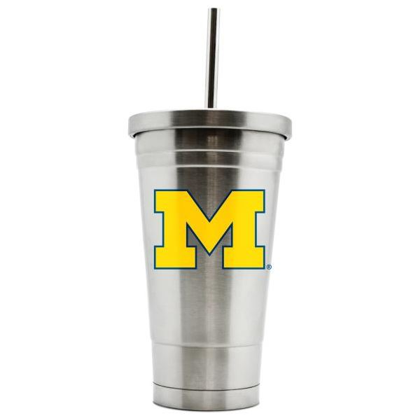 Duck House NCAA Michigan Wolverines Stainless Steel Straw Tumbler 17 oz