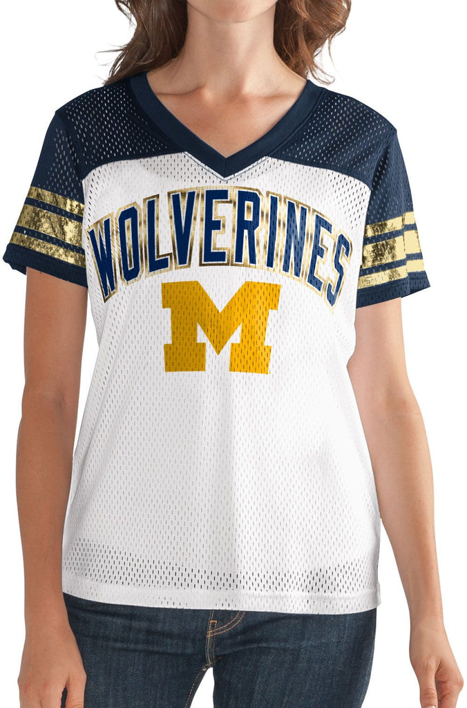 G-III NCAA Women's Michigan Wolverines All American V-Neck Mesh T-Shirt