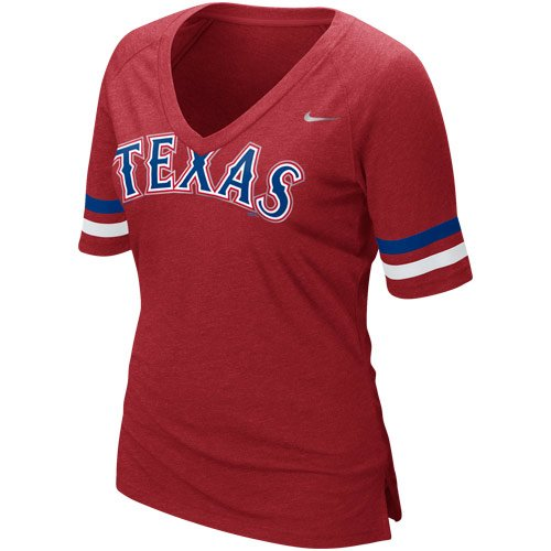 Nike MLB Women's Texas Rangers Fan Premium V-Neck T-Shirt
