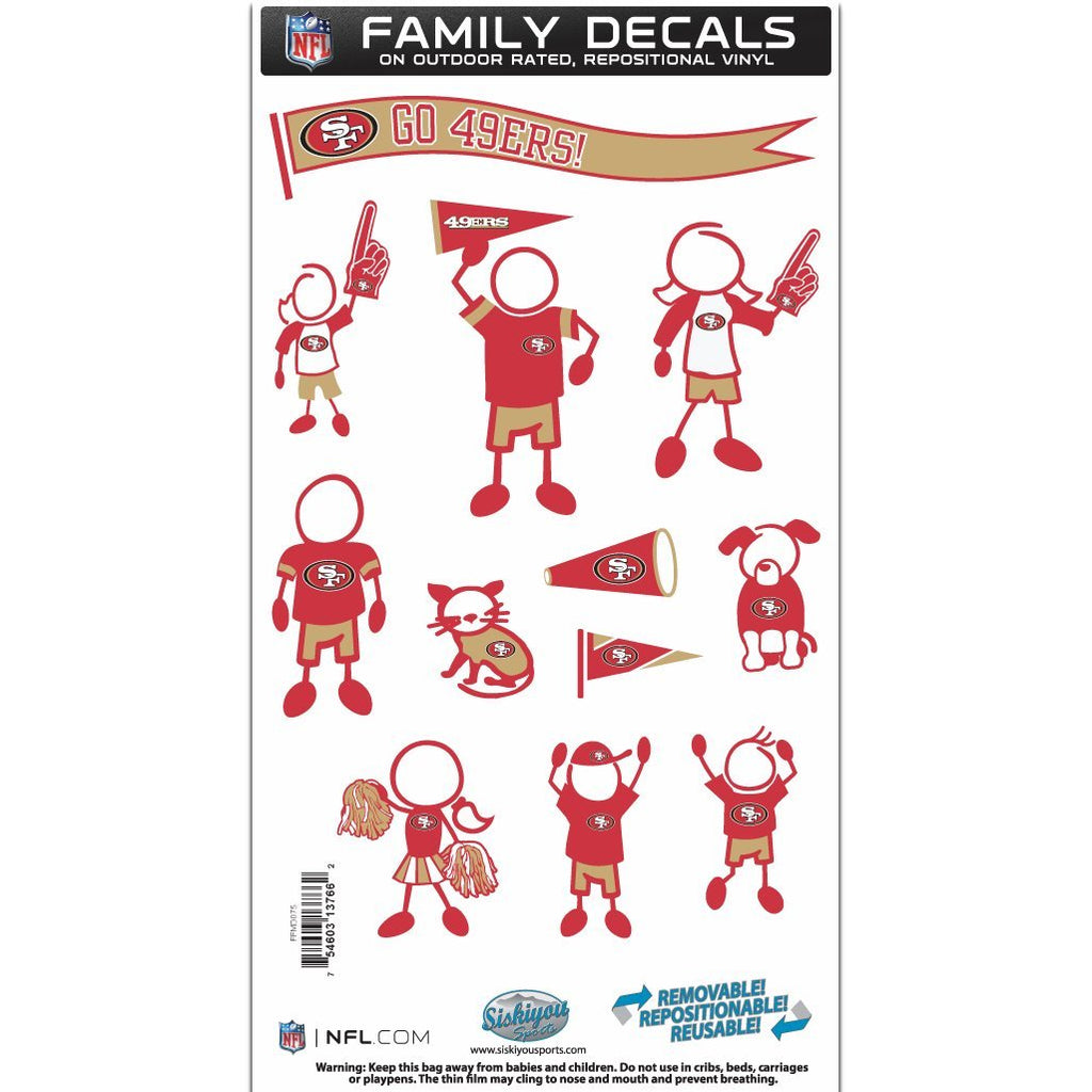 Siskiyou Sports NFL San Francisco 49ers Team Family Decal Set