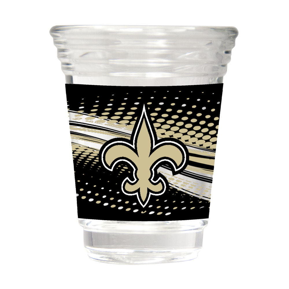 Great American Products NFL New Orleans Saints Party Shot Glass w/Metallic Graphics 2oz.