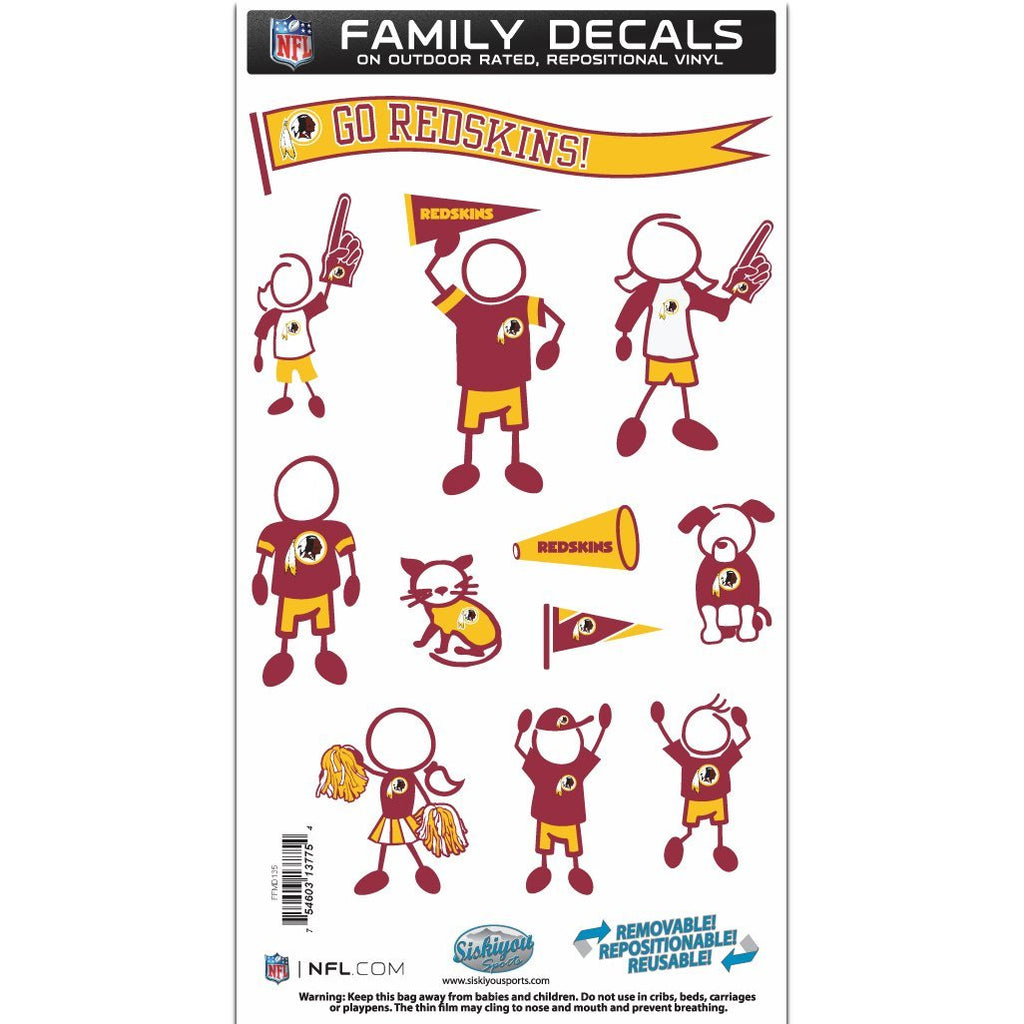 Siskiyou Sports NFL Washington Redskins Team Family Decal Set