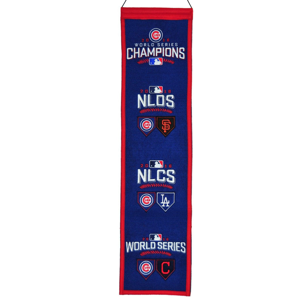 "Winning Streak MLB Chicago Cubs Path to World Series Champs Banner 8""x32"""