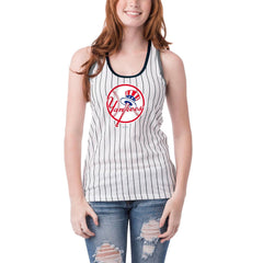 5th & Ocean MLB Women's New York Yankees Pinstripe Racerback Tank Top