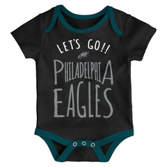 Outerstuff NFL Philedelphia Eagles Infant Little Tailgater 3-Piece Creeper Set Green/Black/Grey