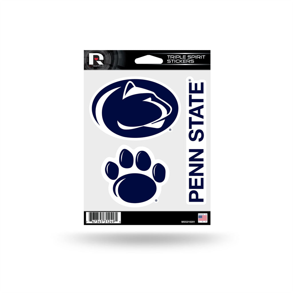 Rico NCAA Penn State Nittany Lions Triple Spirit Stickers 3 Pack Team Decals