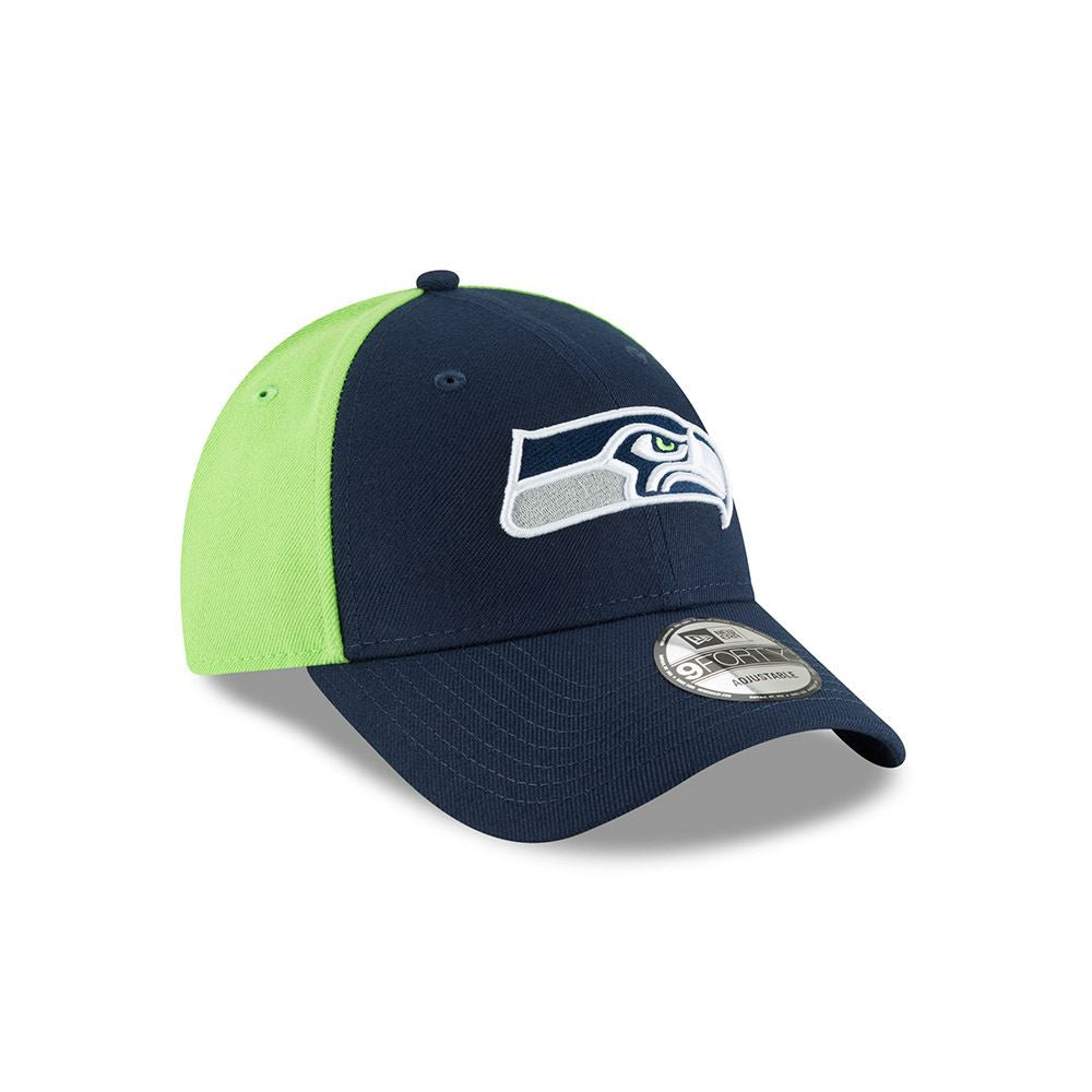 New Era Men's NFL Seattle Seahawks NE Blocked Team 9FORTY Adjustable Hat Navy/Green OSFA