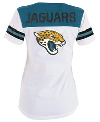 5th & Ocean NFL Women's Jacksonville Jaguars Striped Lace-Up T-Shirt