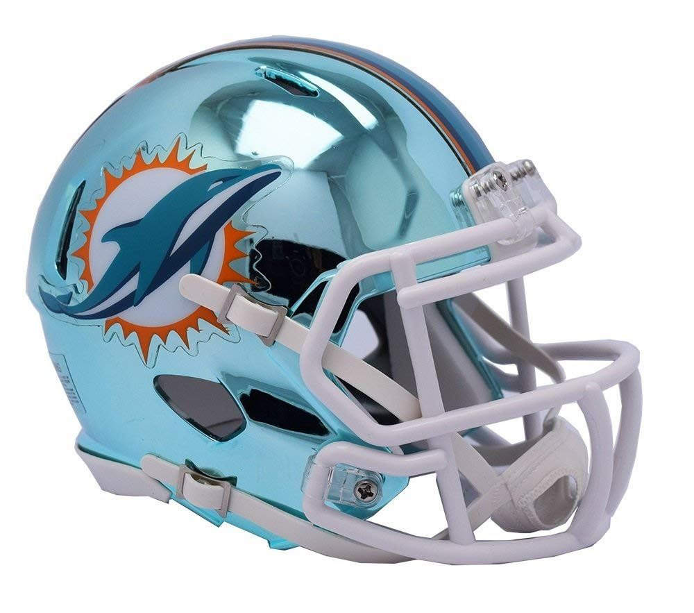 Riddell NFL Miami DolphinsAlternate Speed Chrome Mini Helmet  Chrome Blue