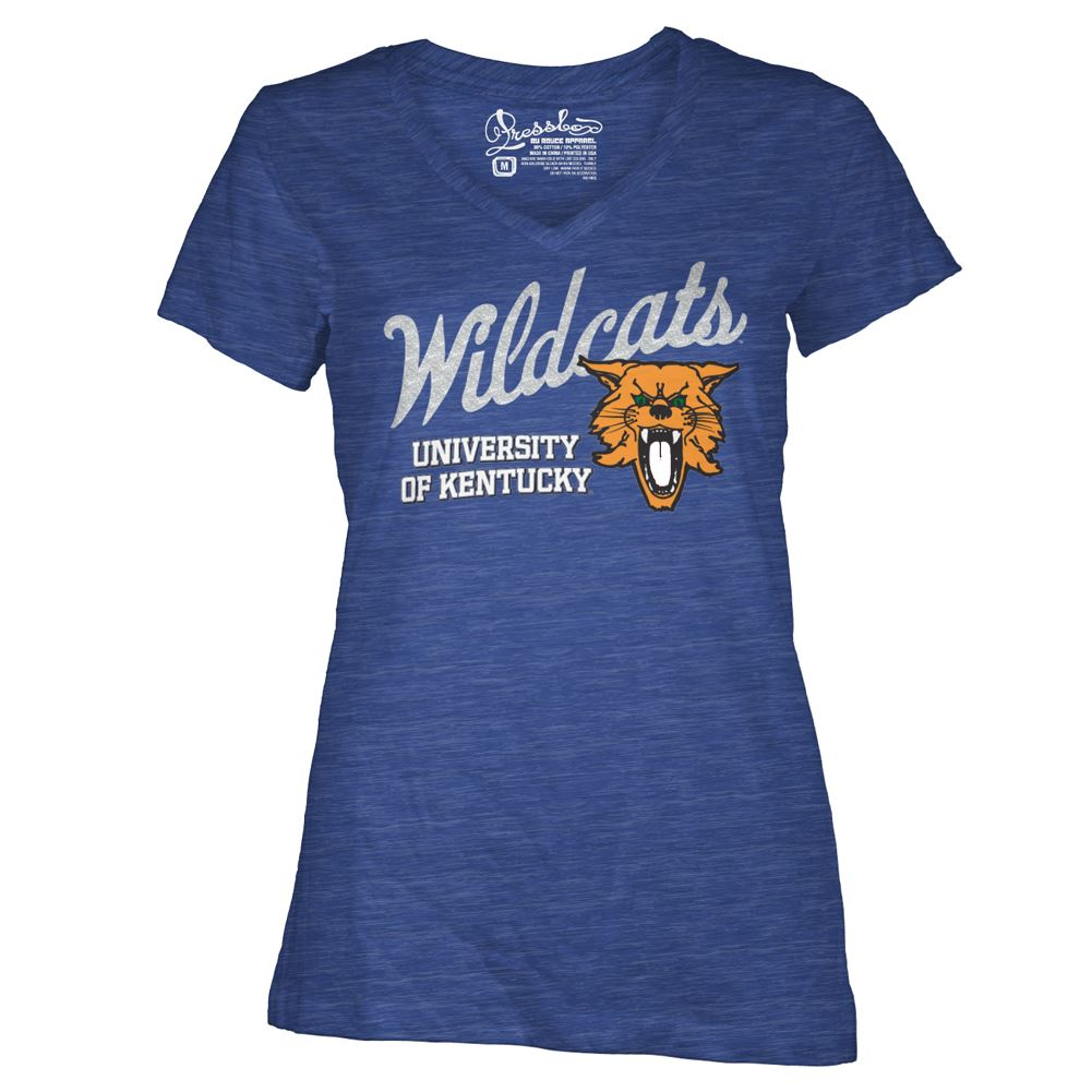 Three Square NCAA Women's Kentucky Wildcats Lady Bird Glitter V-Neck T-Shirt