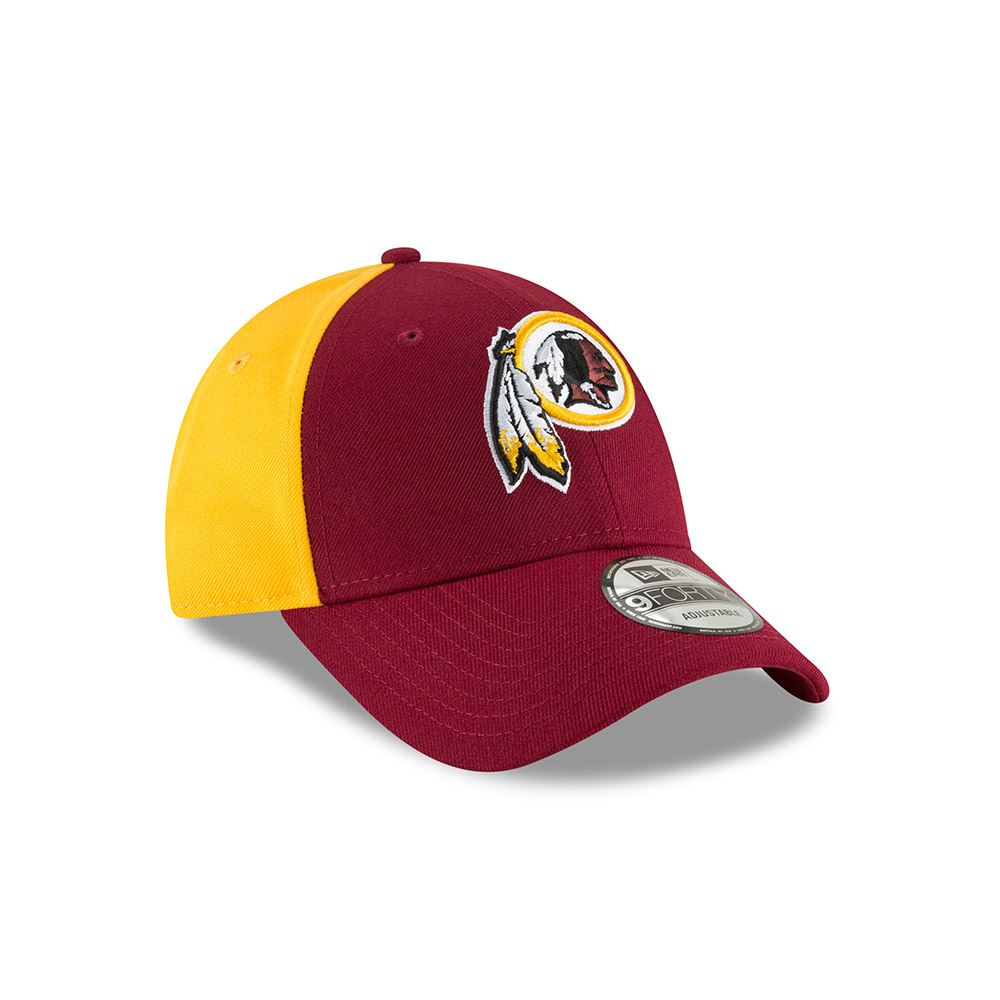 New Era Men's NFL Washington Redskins NE Blocked Team 9FORTY Adjustable Hat Burgundy/Yellow OSFA