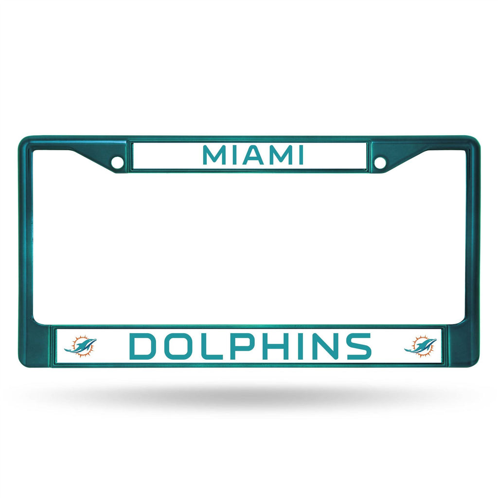 Rico NFL Miami Dolphins Colored Auto Tag Chrome Frame FCC Aqua