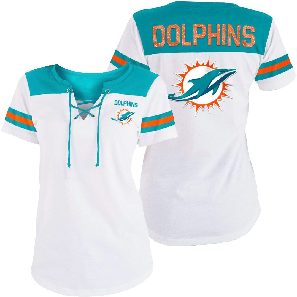 5th & Ocean NFL Women's Miami Dolphins Striped Lace-Up T-Shirt