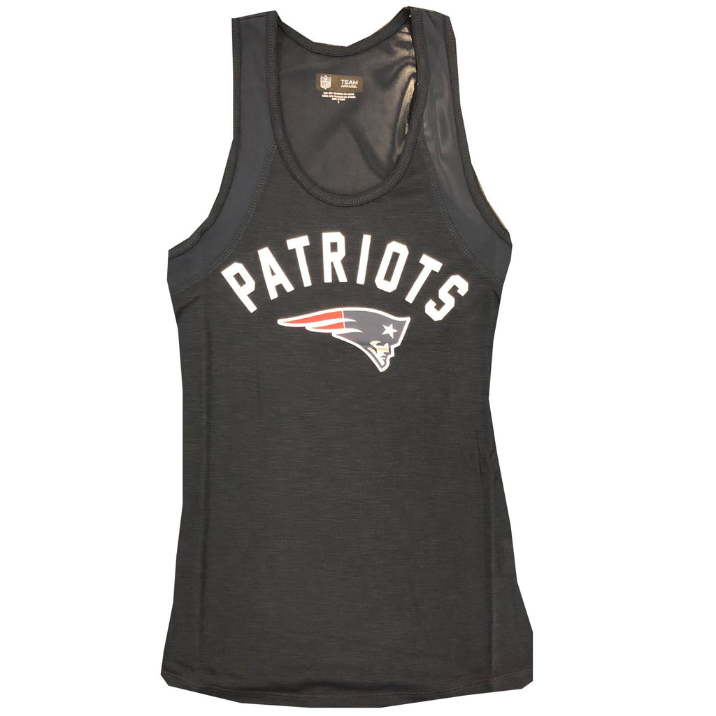 New Era NFL Women's New England Patriots Wordmark Arch Heathered Mesh Tank Top