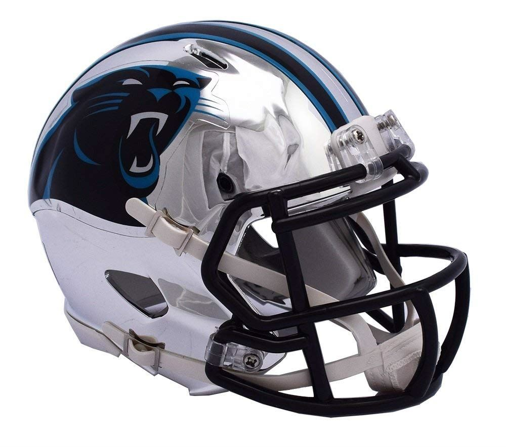 Riddell NFL Carolina Panthers Alternate Speed Chrome Mini Helmet  Chrome Silver