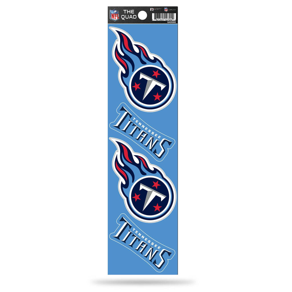 Rico NFL Tennessee Titans The Quad 4 Pack Auto Decal Car Sticker Set QAD