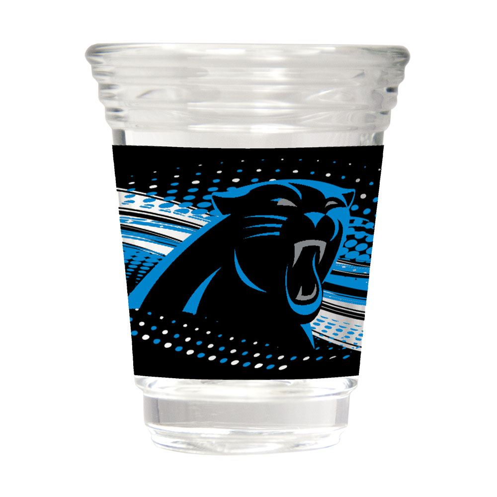 Great American Products NFL Carolina Panthers Party Shot Glass w/Metallic Graphics 2oz.