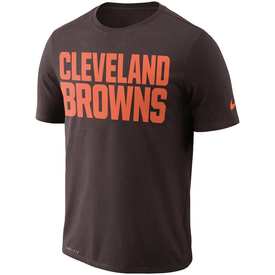 Nike NFL Men's Cleveland Browns Dri-Fit Logo Essential T-Shirt Brown