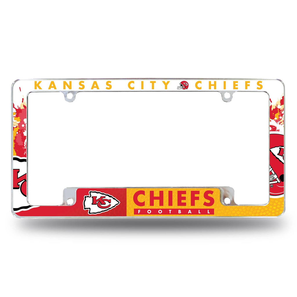 Rico NFL Kansas City Chiefs Auto Tag All Over Chrome Frame AFC