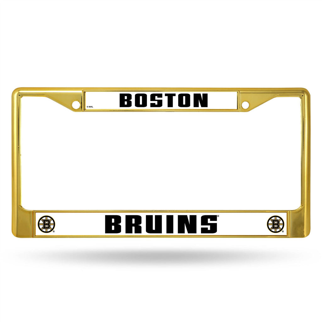 Rico NHL Boston Bruins Colored Auto Tag Chrome Frame FCC Gold