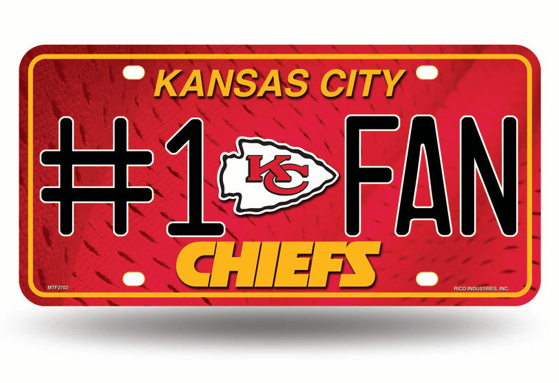 Rico NFL Kansas City Chiefs #1 FAN Auto Metal Tag Car License Plate MTG