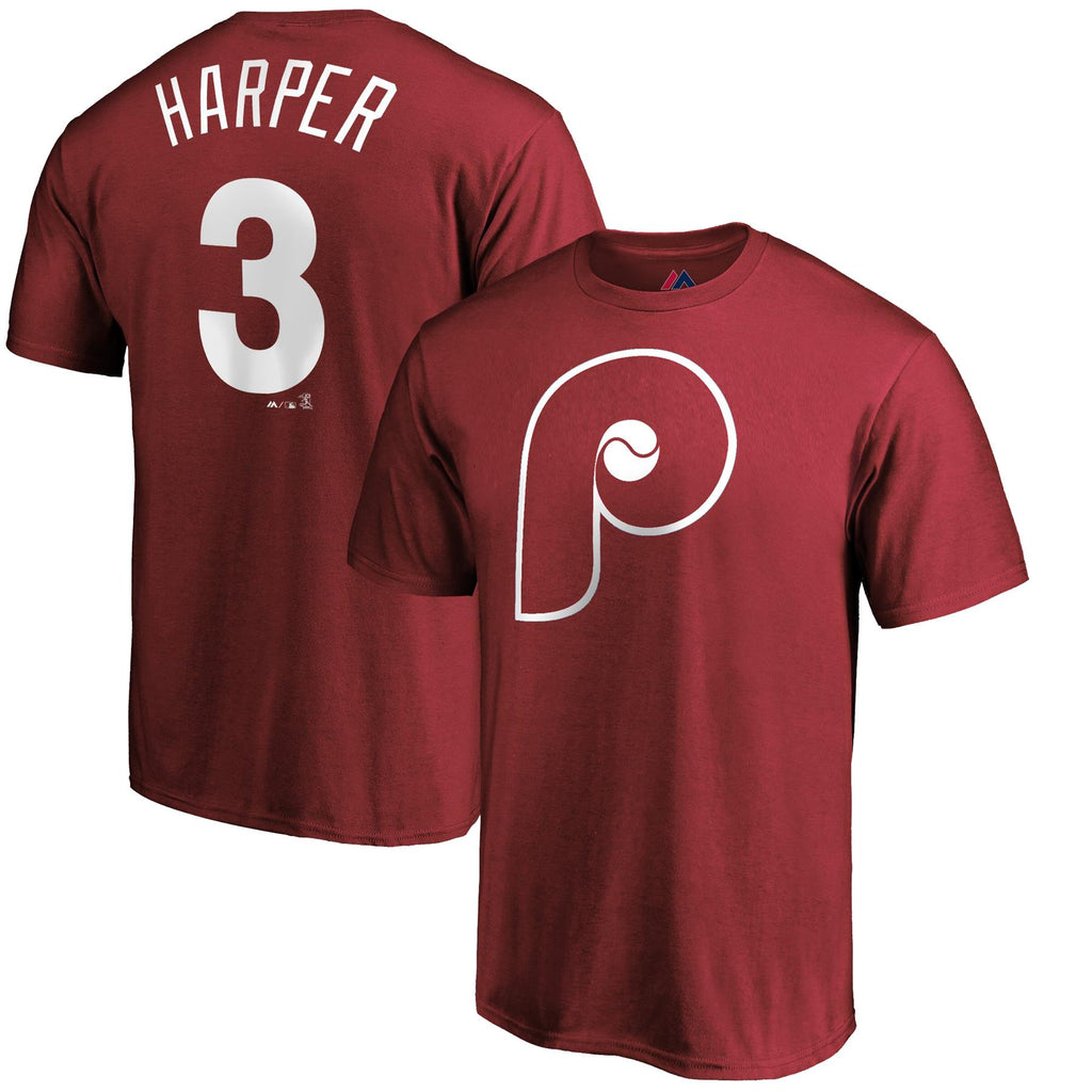 Majestic MLB Men's #3 Bryce Harper Philadelphia Phillies Name & Number T-Shirt