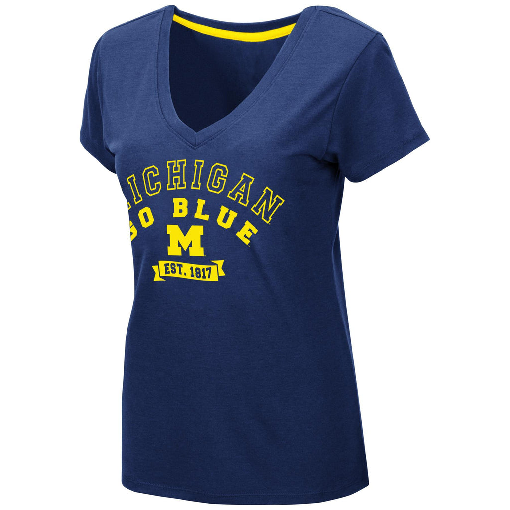 Colosseum NCAA Womens Michigan Wolverines Rose T-Shirt V-Neck Blue
