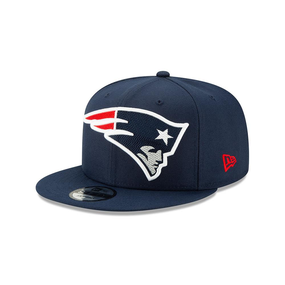 New Era NFL Men's New England Patriots Big Logo Threads 9Fifty Adjustable Snapback Hat Blue
