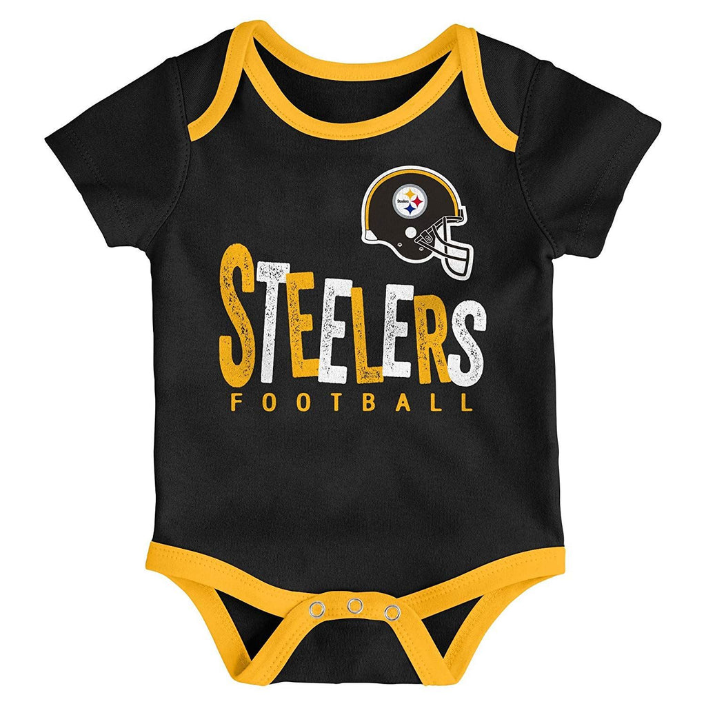 Outerstuff NFL Pittsburgh Steelers Infant Little Tailgater 3-Piece Creeper  Set Yellow Black  e125349bd