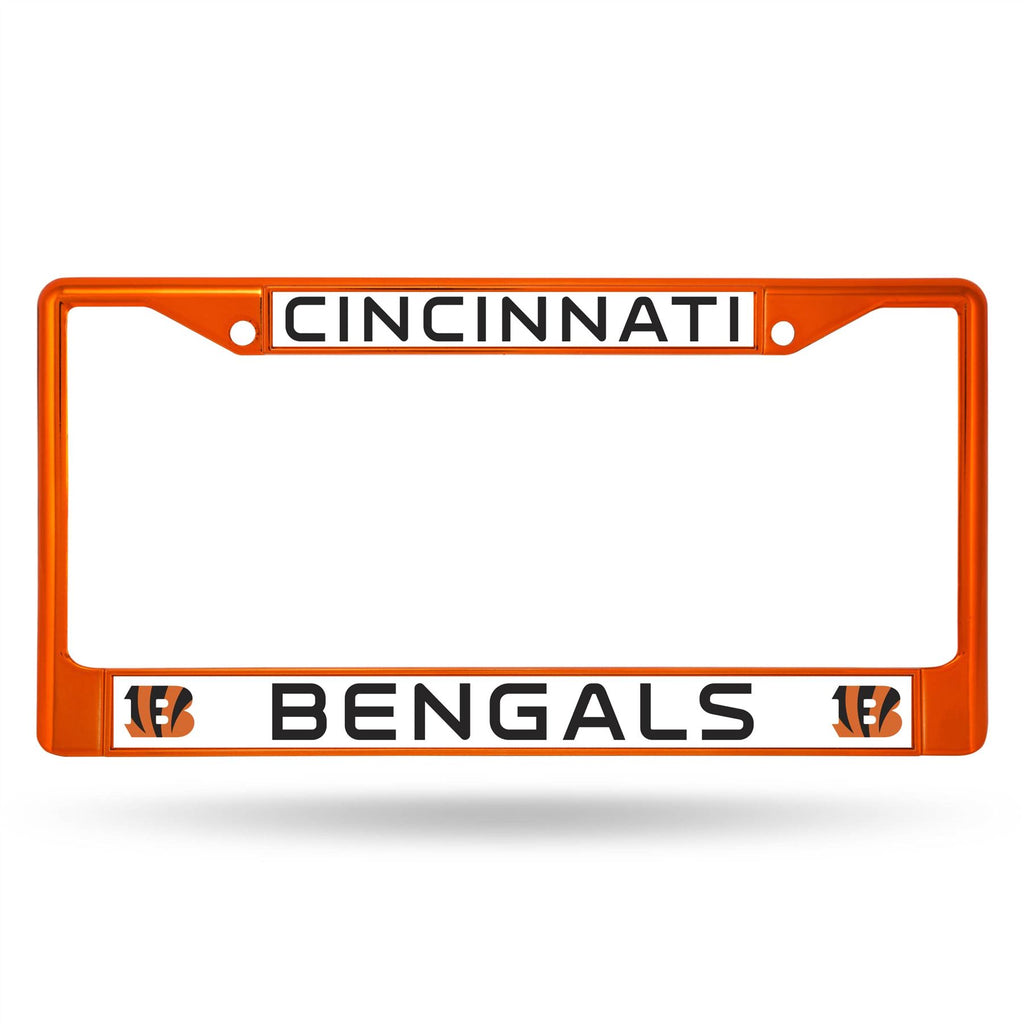 Rico NFL Cincinnati Bengals Colored Auto Tag Chrome Frame FCC Orange