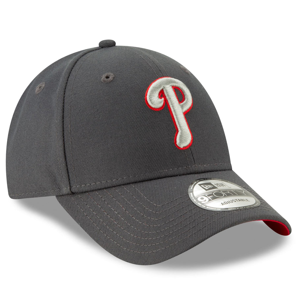 New Era MLB Men's Philadelphia Phillies The League Graphite 9FORTY Adjustable Hat Graphite One Size