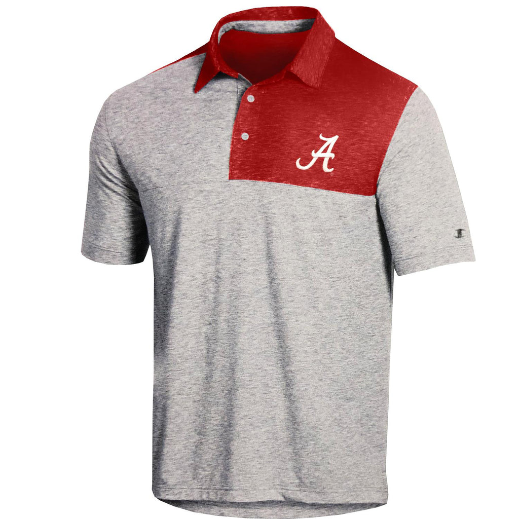 Champion NCAA Men's Alabama Crimson Tide Field-Day Color Block Lightweight Polo T-Shirt