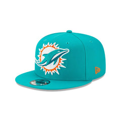 New Era NFL Men's Miami Dolphins Big Logo Threads 9Fifty Adjustable Snapback Hat Teal