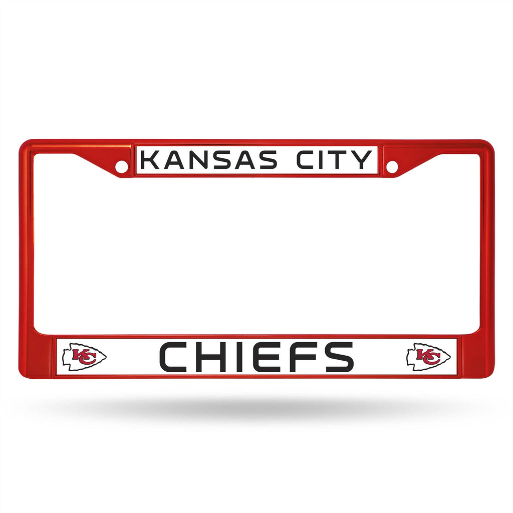 Rico NFL Kansas City Chiefs Colored Auto Tag Chrome Frame FCC Red