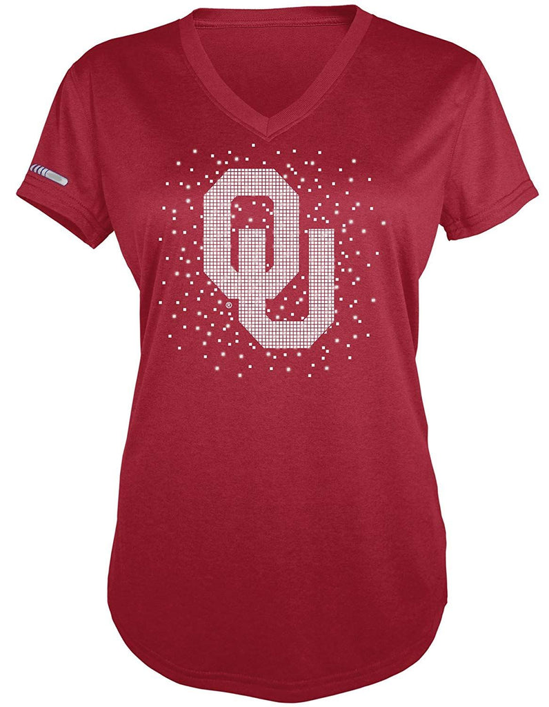 Majestic NCAA Women's Oklahoma Sooners Particle V-Neck T-Shirt