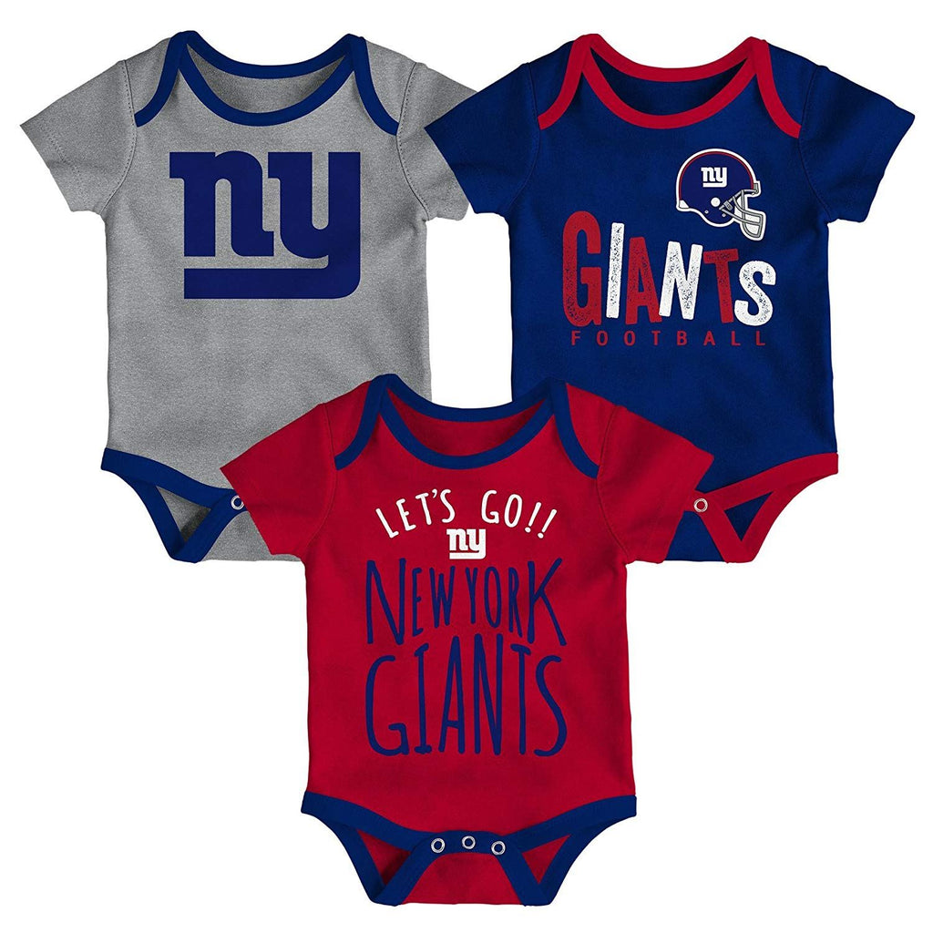 Outerstuff NFL New York Giants Infant Little Tailgater 3-Piece Creeper Set Blue/Red/Grey