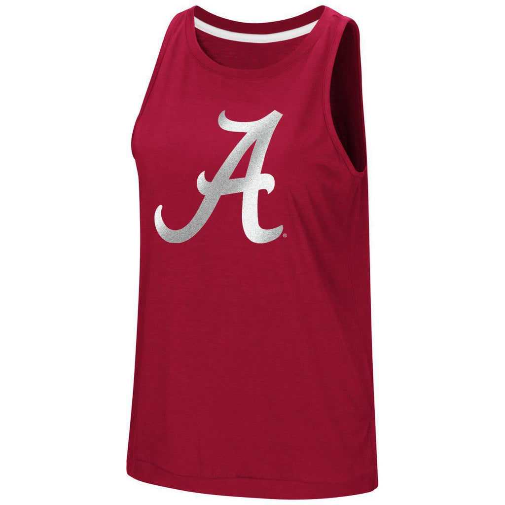 Colosseum NCAA Women's Alabama Crimson Tide Bet On Me Reflective Muscle Tank Top