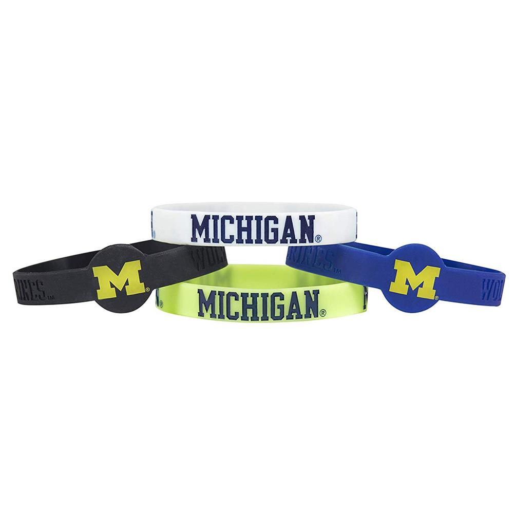 Aminco NCAA Michigan Wolverines 4-Pack Silicone Bracelets