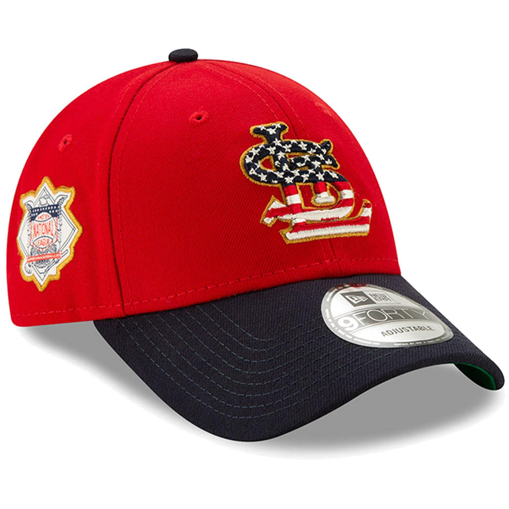 New Era MLB Men's St. Louis Cardinals 2019 Stars & Stripes 4th of July 9FORTY Adjustable Hat Red/Navy