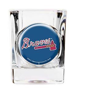 Great American Products MLB Atlanta Braves Indent Square Shot Glass Clear 2 oz