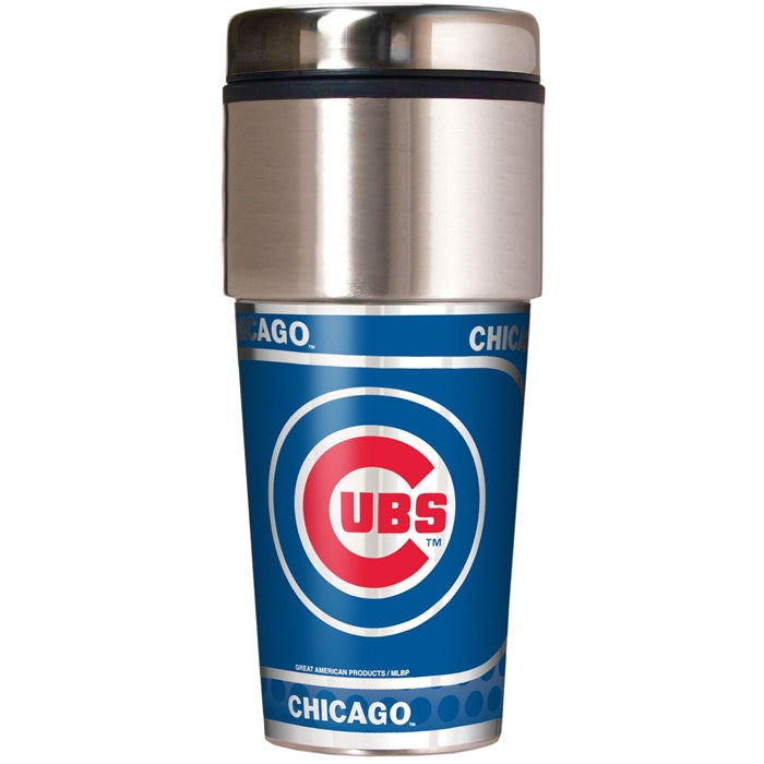 Great American Products MLB Chicago Cubs Stainless Steel Travel Tumbler with Metallic Graphics 16 oz