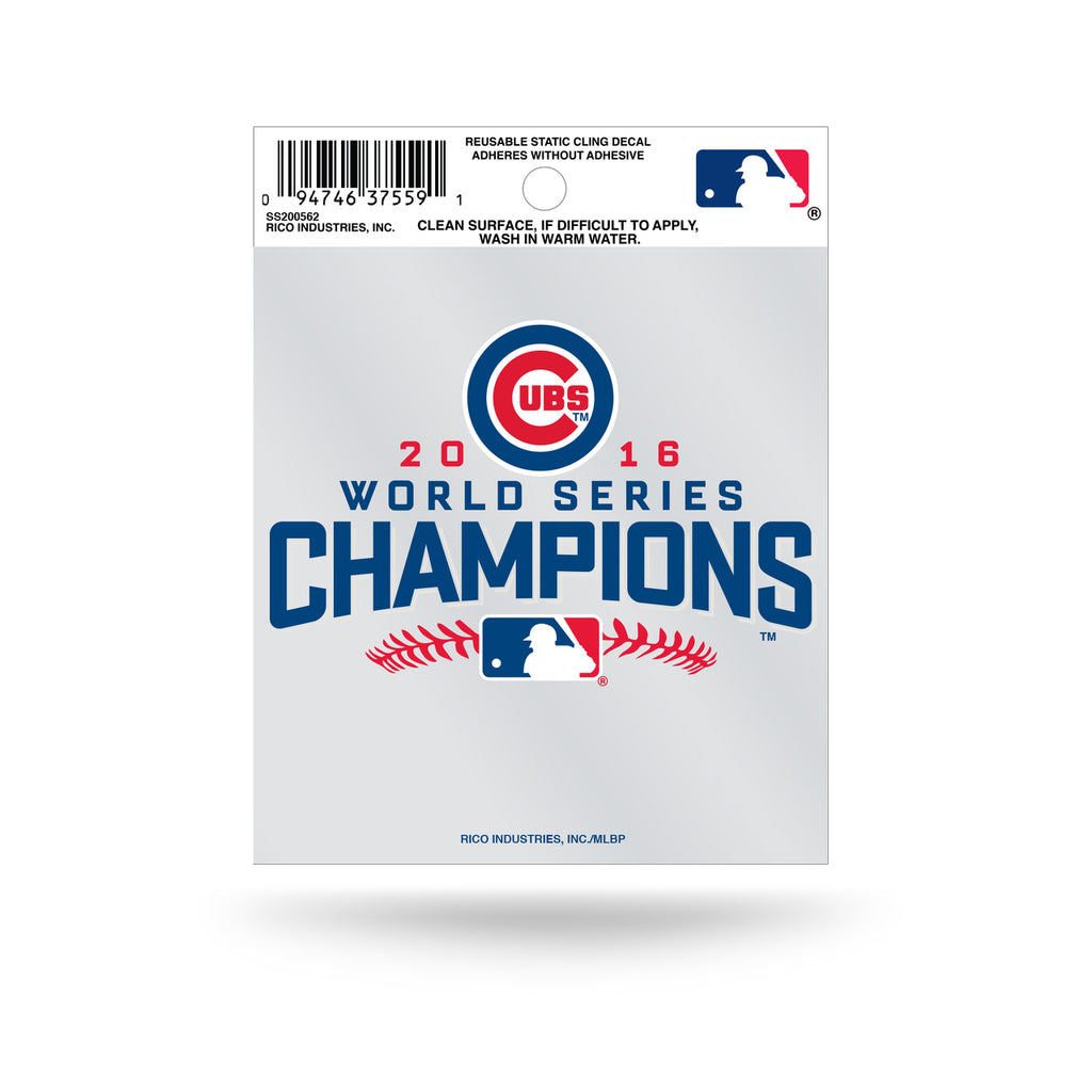 Rico MLB Chicago Cubs 2016 World Series Champions Logo Static Cling Auto Decal Car Sticker Small SS
