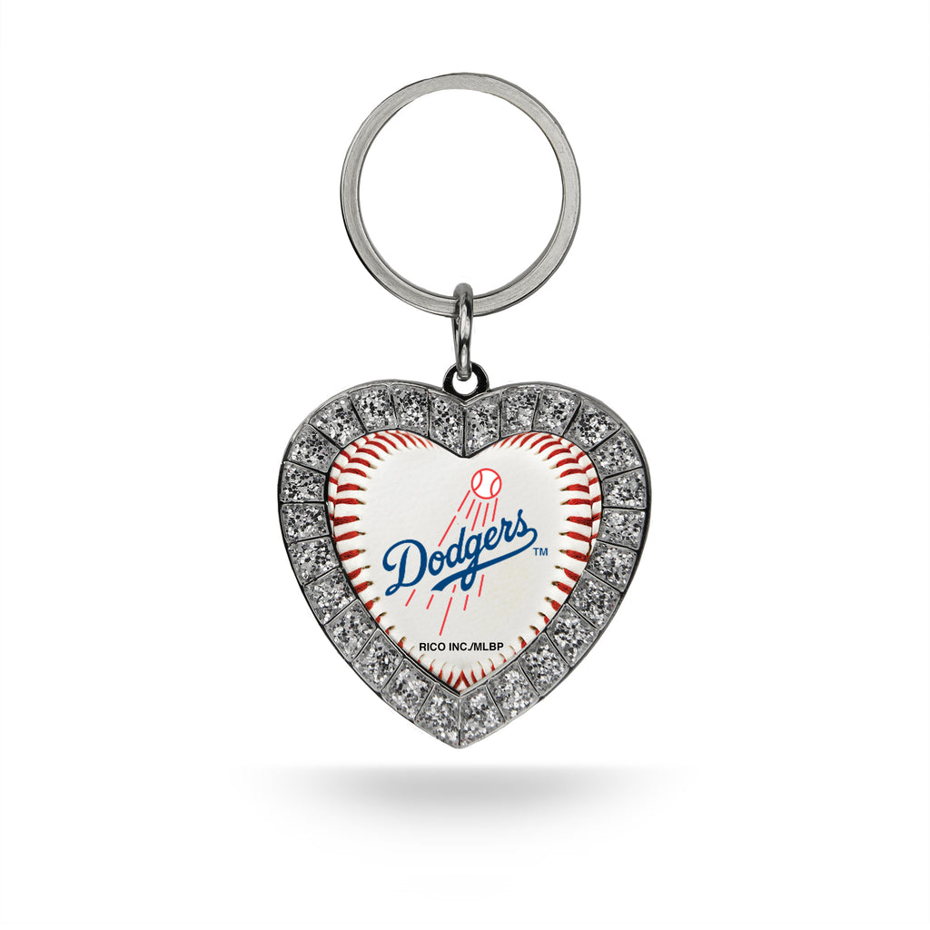 Rico MLB Los Angeles Dodgers Rhinestone Heart Key Chain