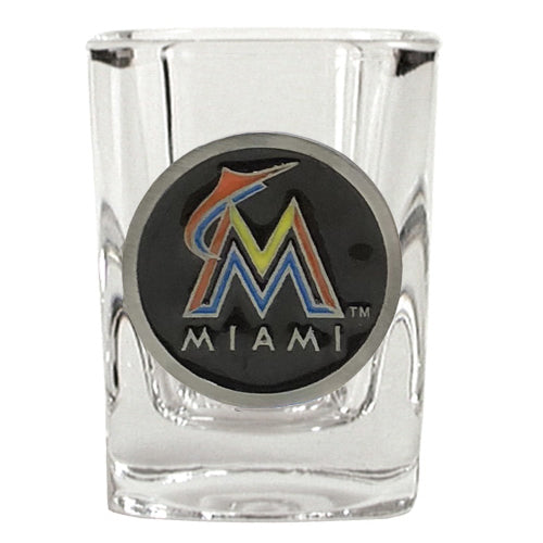 Great American Products MLB Miami Marlins Metal Emblem Square Shot Glass 2oz