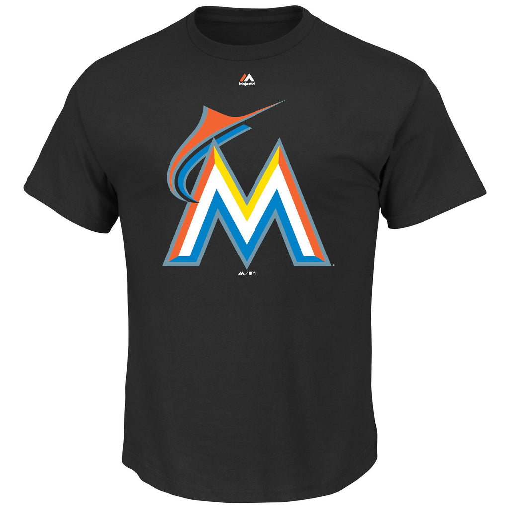 Majestic MLB Men's Miami Marlins Official Logo T-Shirt